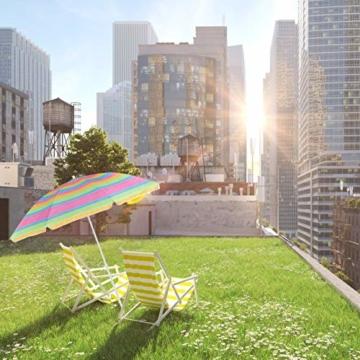 Relaxdays Strandschirm gestreift, höhenverstellbarer Sonnenschirm, Gartenschirm mit 50+ UV-Schutz, HD 210 x 170 cm, bunt - 9