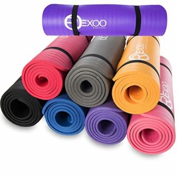 REXOO Pilates Yogamatte Fitnessmatte Gymnastikmatte Sportmatte Matte, Größe: 183cm x 61cm x 1cm, Farbe: Schwarz - 1