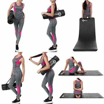 REXOO Pilates Yogamatte Fitnessmatte Gymnastikmatte Sportmatte Matte, Größe: 183cm x 61cm x 1cm, Farbe: Schwarz - 6