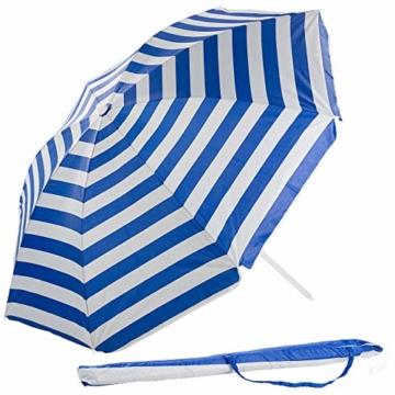 Royal Gardineer Strandschirm: 2-teiliger Sonnenschirm mit Sonnenschutz UV30+ und Tasche, Ø 160 cm (Sonnenschirm Strand) - 1