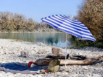 Royal Gardineer Strandschirm: 2-teiliger Sonnenschirm mit Sonnenschutz UV30+ und Tasche, Ø 160 cm (Sonnenschirm Strand) - 8