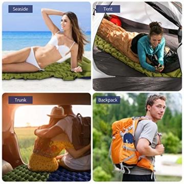RUNACC Isomatte Camping Selbstaufblasbare, Aufblasbare Ultraleicht Luftmatratze Camping Matratze Outdoor Luftbett für Camping, Reise, Outdoor, Wandern, Strand(Grün&Blau) - 4