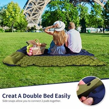 RUNACC Isomatte Camping Selbstaufblasbare, Aufblasbare Ultraleicht Luftmatratze Camping Matratze Outdoor Luftbett für Camping, Reise, Outdoor, Wandern, Strand(Grün&Blau) - 7