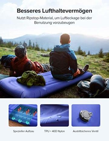 Sable Isomatte Camping Handpresse aufblasbare Luftmatratze Kleines Packmaß und Leichte 14cm Dick Schnell Selbstaufblasend mit Integrierte Luftpumpe und Tragetasche für Outdoor Backpacking Wandern - 3