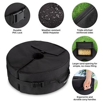 Sammiu Umbrella Base Weight Bag Wetter- und UV-beständige Sandsäcke bis zu 110 Pfund Sand passen auf jeden versetzten Patio-Schirmständer im Freien - 7