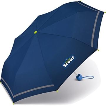 Scout Kinder Regenschirm Taschenschirm Schultaschenschirm mit Reflektorstreifen extra leicht (Blau) - 1