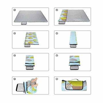 Sekey 200 x 200cm Picknickdecke wasserdicht, Camping Decke Picknickdecke mit tragbarem Griff, Waschbare Picknickdecke für Outdoor - 3