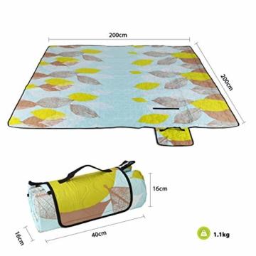 Sekey 200 x 200cm Picknickdecke wasserdicht, Camping Decke Picknickdecke mit tragbarem Griff, Waschbare Picknickdecke für Outdoor - 5