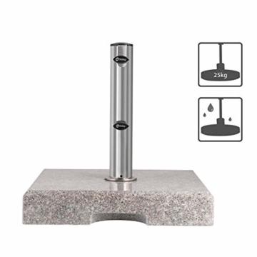 Sekey Granit Sonnenschirmständer mit Edelstahlrohr, Hochwertiger Sockel, für Schirmstöcke bis 22-38 mm, Balkonschirmständer 25KG Quadratisch Grau - 2