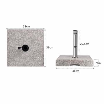 Sekey Granit Sonnenschirmständer mit Edelstahlrohr, Hochwertiger Sockel, für Schirmstöcke bis 22-38 mm, Balkonschirmständer 25KG Quadratisch Grau - 3