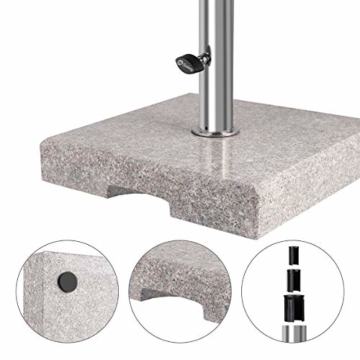 Sekey Granit Sonnenschirmständer mit Edelstahlrohr, Hochwertiger Sockel, für Schirmstöcke bis 22-38 mm, Balkonschirmständer 25KG Quadratisch Grau - 4