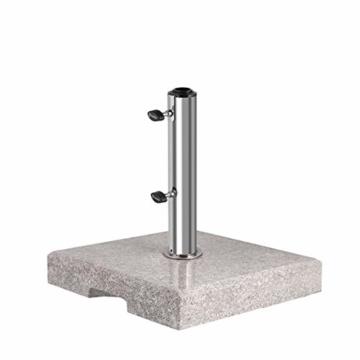 Sekey Granit Sonnenschirmständer mit Edelstahlrohr, Hochwertiger Sockel, für Schirmstöcke bis 22-38 mm, Balkonschirmständer 25KG Quadratisch Grau - 1