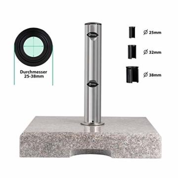 Sekey Granit Sonnenschirmständer mit Edelstahlrohr, Hochwertiger Sockel, für Schirmstöcke bis 22-38 mm, Balkonschirmständer 25KG Quadratisch Grau - 5