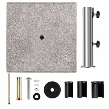 Sekey Granit Sonnenschirmständer mit Edelstahlrohr, Hochwertiger Sockel, für Schirmstöcke bis 22-38 mm, Balkonschirmständer 25KG Quadratisch Grau - 6
