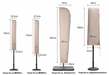 Sekey Schutzhülle für DoppelSonnenschirm, Abdeckhauben für Sonnenschirm,100% Polyester, Taupe - 270 x 460 CM - 3