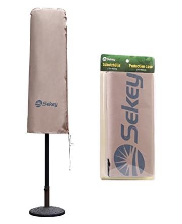 Sekey Schutzhülle für DoppelSonnenschirm, Abdeckhauben für Sonnenschirm,100% Polyester, Taupe - 270 x 460 CM - 5