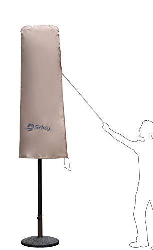 Sekey Schutzhülle für DoppelSonnenschirm, Abdeckhauben für Sonnenschirm,100% Polyester, Taupe - 270 x 460 CM - 7