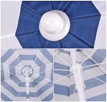 Sekey® Sonnenschirm 160 cm Marktschirm Gartenschirm Terrassenschirm Blaue weiße Streifen Rund Sonnenschutz UV20+ - 2