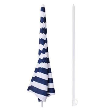 Sekey® Sonnenschirm 160 cm Marktschirm Gartenschirm Terrassenschirm Blaue weiße Streifen Rund Sonnenschutz UV20+ - 3