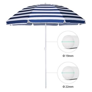 Sekey® Sonnenschirm 160 cm Marktschirm Gartenschirm Terrassenschirm Blaue weiße Streifen Rund Sonnenschutz UV20+ - 4
