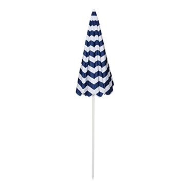 Sekey® Sonnenschirm 160 cm Marktschirm Gartenschirm Terrassenschirm Blaue weiße Streifen Rund Sonnenschutz UV20+ - 5