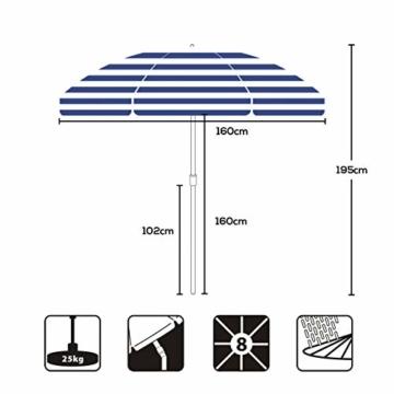 Sekey® Sonnenschirm 160 cm Marktschirm Gartenschirm Terrassenschirm Blaue weiße Streifen Rund Sonnenschutz UV20+ - 6