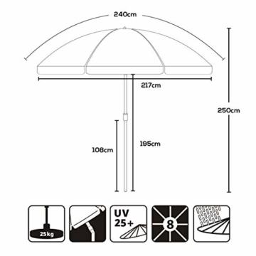 Sekey® Sonnenschirm 240 cm Marktschirm Gartenschirm Terrassenschirm Creme Rund Sonnenschutz UV25+ - 7