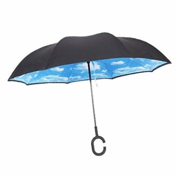 sharprepublic Umgedrehter Regenschirm mit C-Griff, Reverse Regenschirm umgekehrter Schirm Inside Out öffnet anders herum Golfschirm Stockschirm - Blauer Himmel Weiße Wolke - 2