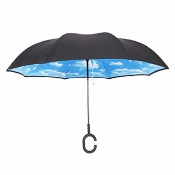 sharprepublic Umgedrehter Regenschirm mit C-Griff, Reverse Regenschirm umgekehrter Schirm Inside Out öffnet anders herum Golfschirm Stockschirm - Blauer Himmel Weiße Wolke - 4