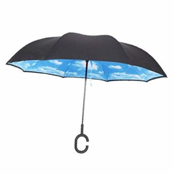 sharprepublic Umgedrehter Regenschirm mit C-Griff, Reverse Regenschirm umgekehrter Schirm Inside Out öffnet anders herum Golfschirm Stockschirm - Blauer Himmel Weiße Wolke - 7