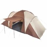 Skandika Kuppelzelt Daytona 6 Personen | Familienzelt mit 3 Schlafkabinen, 3000 mm Wassersäule, 195 cm Stehhöhe, Moskitonetze, Sonnensegel | Campingzelt für Familie und Freunde (beige/braun) - 1