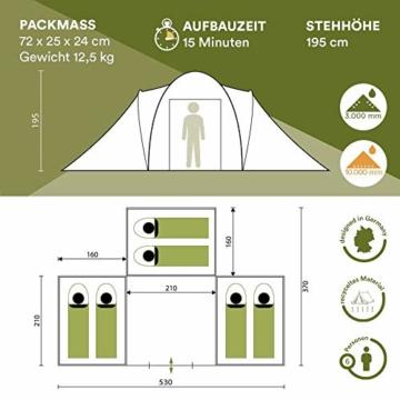 Skandika Kuppelzelt Daytona 6 Personen | Familienzelt mit 3 Schlafkabinen, 3000 mm Wassersäule, 195 cm Stehhöhe, Moskitonetze, Sonnensegel | Campingzelt für Familie und Freunde (beige/braun) - 3