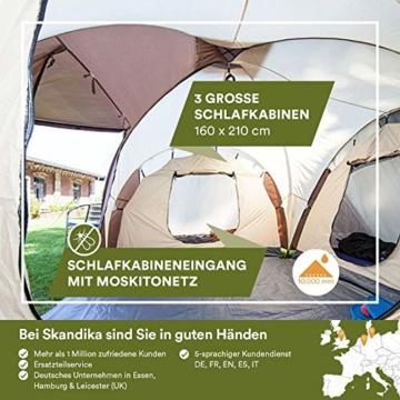Skandika Kuppelzelt Daytona 6 Personen | Familienzelt mit 3 Schlafkabinen, 3000 mm Wassersäule, 195 cm Stehhöhe, Moskitonetze, Sonnensegel | Campingzelt für Familie und Freunde (beige/braun) - 5