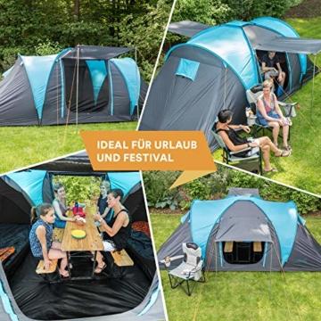 Skandika Kuppelzelt Hammerfest für 4 Personen   Campingzelt mit eingenähtem Zeltboden (Protect), schwarzen Kabinen (Sleeper), 2 Schlafkabinen, Moskitonetze, 2 m Stehhöhe, 2000 mm Wassersäule - 2