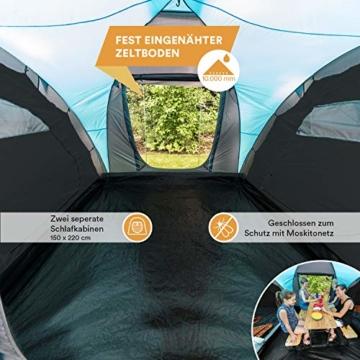 Skandika Kuppelzelt Hammerfest für 4 Personen   Campingzelt mit eingenähtem Zeltboden (Protect), schwarzen Kabinen (Sleeper), 2 Schlafkabinen, Moskitonetze, 2 m Stehhöhe, 2000 mm Wassersäule - 3