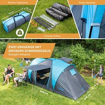 Skandika Kuppelzelt Hammerfest für 4 Personen   Campingzelt mit eingenähtem Zeltboden (Protect), schwarzen Kabinen (Sleeper), 2 Schlafkabinen, Moskitonetze, 2 m Stehhöhe, 2000 mm Wassersäule - 4