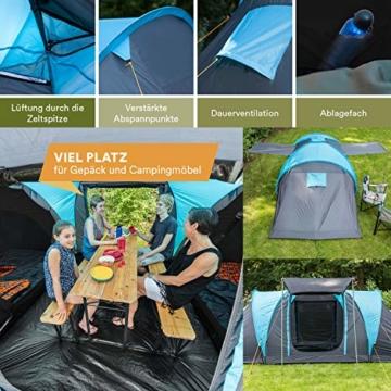 Skandika Kuppelzelt Hammerfest für 4 Personen   Campingzelt mit eingenähtem Zeltboden (Protect), schwarzen Kabinen (Sleeper), 2 Schlafkabinen, Moskitonetze, 2 m Stehhöhe, 2000 mm Wassersäule - 6