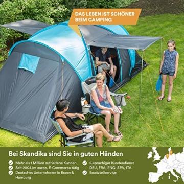 Skandika Kuppelzelt Hammerfest für 4 Personen   Campingzelt mit eingenähtem Zeltboden (Protect), schwarzen Kabinen (Sleeper), 2 Schlafkabinen, Moskitonetze, 2 m Stehhöhe, 2000 mm Wassersäule - 7
