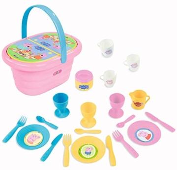 Smoby 310589 – Peppa Wutz Picknick-Korb – Spielset mit Spielzeug-Teeservice (20 Teile), inkl. Teller, Besteck, Becher, für Kinder ab 3 Jahren, rosa - 3