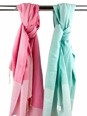 SOLTAKO XXL 2X Fouta Strandtuch Handtuch Saunatuch Badetuch Hamamtuch Yoga Decke Pestemal in Kirschblütenrosa & Mint Farben als 2er Geschenkset extra groß, 100 x 200 cm - 2