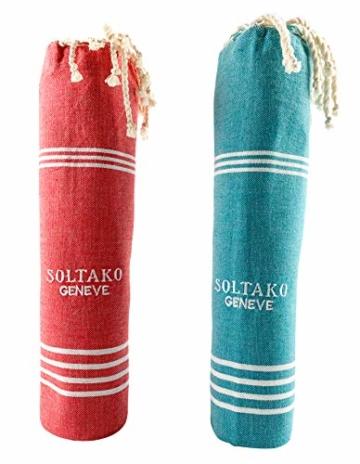 SOLTAKO XXL 2X Fouta Strandtuch Handtuch Saunatuch Badetuch Hamamtuch Yoga Decke Pestemal in Jade & Koralle Farben als 2er Geschenkset extra groß, 100 x 200 cm - 4