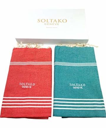 SOLTAKO XXL 2X Fouta Strandtuch Handtuch Saunatuch Badetuch Hamamtuch Yoga Decke Pestemal in Jade & Koralle Farben als 2er Geschenkset extra groß, 100 x 200 cm - 5