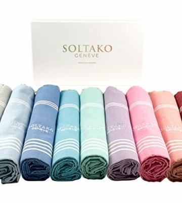 SOLTAKO XXL 2X Fouta Strandtuch Handtuch Saunatuch Badetuch Hamamtuch Yoga Decke Pestemal in Jade & Koralle Farben als 2er Geschenkset extra groß, 100 x 200 cm - 6