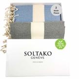 SOLTAKO XXL 2X Fouta Strandtuch Handtuch Saunatuch Badetuch Hamamtuch Yoga Decke Pestemal in Jeansblau & Pastellgrau Farben als 2er Geschenkset extra groß, 100 x 200 cm - 1