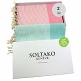 SOLTAKO XXL 2X Fouta Strandtuch Handtuch Saunatuch Badetuch Hamamtuch Yoga Decke Pestemal in Kirschblütenrosa & Mint Farben als 2er Geschenkset extra groß, 100 x 200 cm - 1