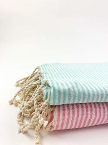SOLTAKO XXL 2X Fouta Strandtuch Handtuch Saunatuch Badetuch Hamamtuch Yoga Decke Pestemal in Kirschblütenrosa & Mint Farben als 2er Geschenkset extra groß, 100 x 200 cm - 3