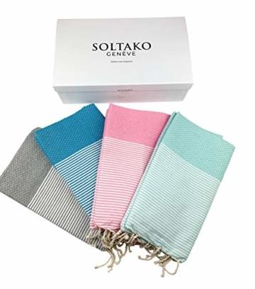 SOLTAKO XXL 2X Fouta Strandtuch Handtuch Saunatuch Badetuch Hamamtuch Yoga Decke Pestemal in Kirschblütenrosa & Mint Farben als 2er Geschenkset extra groß, 100 x 200 cm - 6