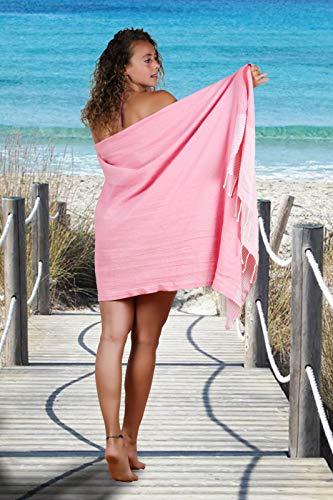SOLTAKO XXL 2X Fouta Strandtuch Handtuch Saunatuch Badetuch Hamamtuch Yoga Decke Pestemal in Kirschblütenrosa & Mint Farben als 2er Geschenkset extra groß, 100 x 200 cm - 7