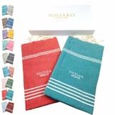 SOLTAKO XXL 2X Fouta Strandtuch Handtuch Saunatuch Badetuch Hamamtuch Yoga Decke Pestemal in Jade & Koralle Farben als 2er Geschenkset extra groß, 100 x 200 cm - 1