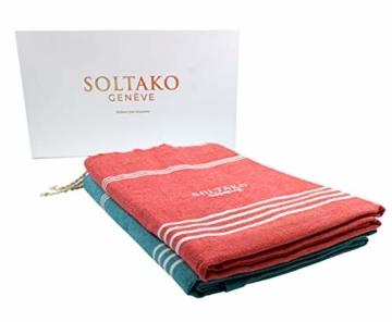 SOLTAKO XXL 2X Fouta Strandtuch Handtuch Saunatuch Badetuch Hamamtuch Yoga Decke Pestemal in Jade & Koralle Farben als 2er Geschenkset extra groß, 100 x 200 cm - 2
